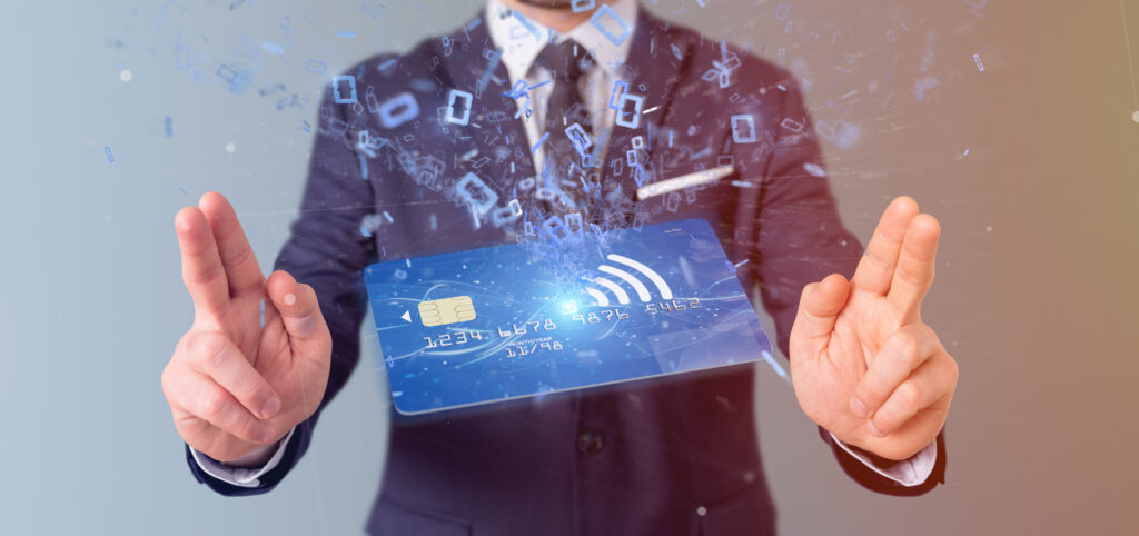 View of a Man holding a contactless credit card payment concept 3d rendering