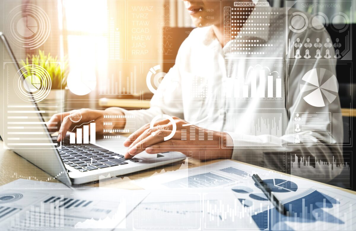 Data Analysis for Business and Finance Concept. Computer technology of profit analytic, online marketing research and information report for digital business strategy.